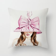 Pink Derby Hat Throw Pillow