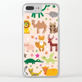 Set of funny cartoon animals character on pink seamless background. zoo. Vector Clear iPhone Case