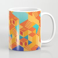 escher Mugs featuring Escher cube by Tony Vazquez