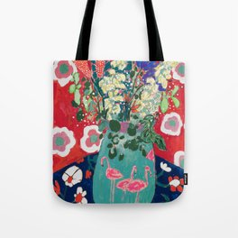 Wild Flowers in Flamingo Vase Floral Painting Tote Bag