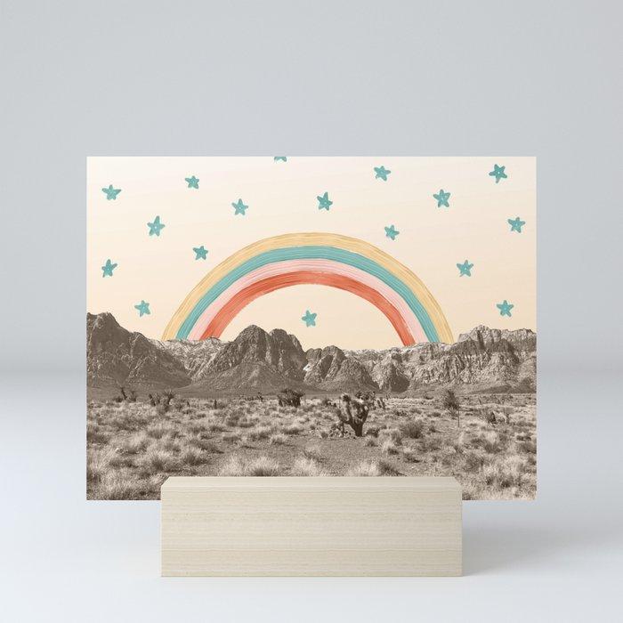 Canyon Desert Rainbow // Sierra Nevada Cactus Mountain Range Whimsical Painted Happy Stars Mini Art Print