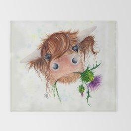 Thistle MacKenzie-McMoo by Fiona Bárcenas Throw Blanket