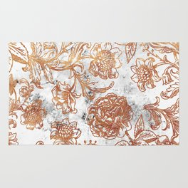 Golden flowers and foliage on white scratched marble Rug