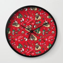 Christmas pattern with pugs Wall Clock