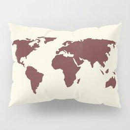 World Map -  Crimson Red on Cream Linen Pillow Sham