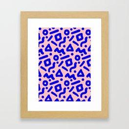 Doodle Pattern - Pink and Electric Blue Framed Art Print