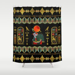 Egyptian Horus Ornament in colored glass and gold Shower Curtain