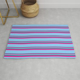 Dark Cyan, Deep Pink, and Light Sky Blue Colored Lined Pattern Rug