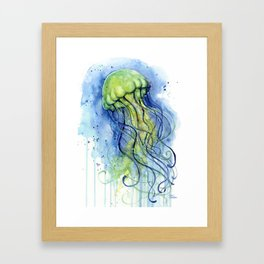 Jellyfish Watercolor Beautiful Sea Creatures Framed Art Print