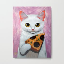 WHITE KITTY AND PIZZA Metal Print