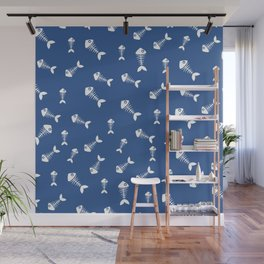 Blue and white fishbone pattern Wall Mural
