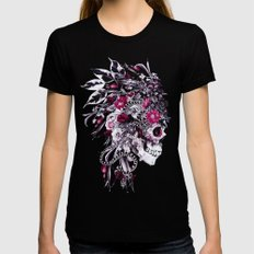 Skull Red Womens Fitted Tee SMALL Black