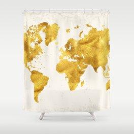 24 Karat World, faux gold world map Shower Curtain