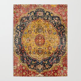 Indian Boho III // 16th Century Distressed Red Green Blue Flowery Colorful Ornate Rug Pattern Poster