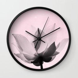 Lotus Flower   Pink Background Wall Clock
