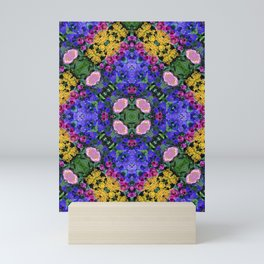 Floral Spectacular: Blue, Plum and Gold - repeating pattern, diamond, Olbrich Botanical Gardens, Mad Mini Art Print