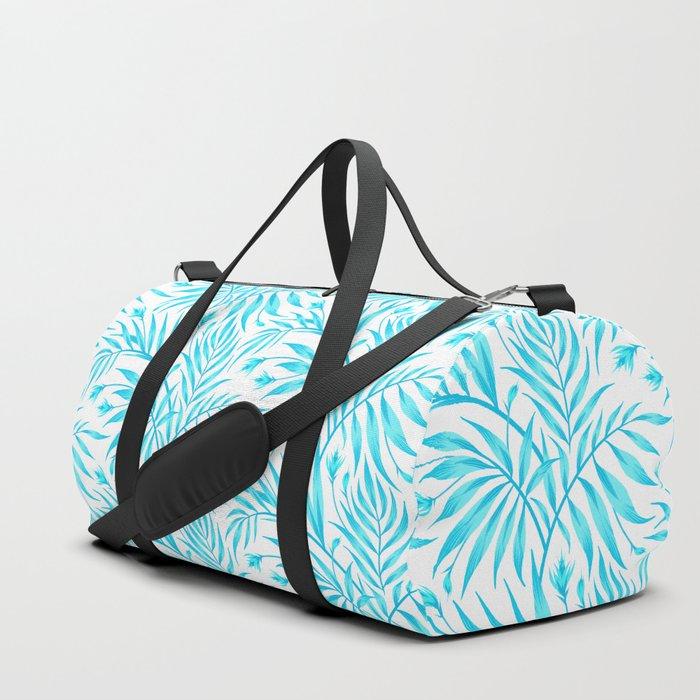 Waikiki Palm - White / Aqua Duffle Bag