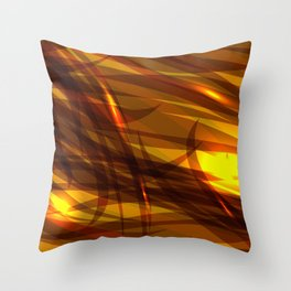 Saturated bronze and smooth sparkling lines of metal tapes on the theme of space and abstraction. Throw Pillow