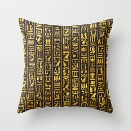 Gilded Hieroglyphs Throw Pillow
