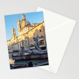 Fountain of Neptune at dawn in the Piazza Navona - Rome, Italy Stationery Cards