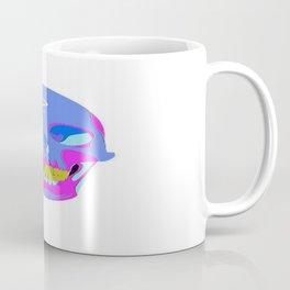 Neon Pixel Psychaedelic Halloween Skull  Coffee Mug