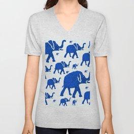 ELEPHANT BLUE MARCH Unisex V-Neck
