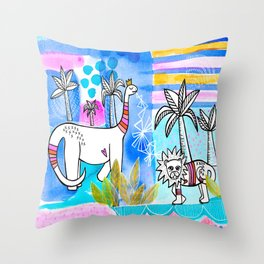 Unlikely Friends Painting - Lion Dinosaur Palm Trees Throw Pillow
