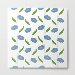 Floral stripes - blue and green Metal Print