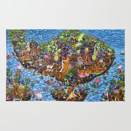 Bali Map Art Painting  Rug