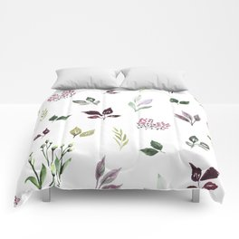 Tiny watercolor leaves Comforters
