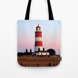 Happisburgh lighthouse shining Tote Bag