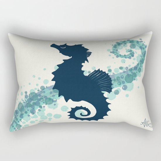 """Seahorse Silhouette"" ` digital illustration by Amber Marine, (c) 2015 Rectangular Pillow"
