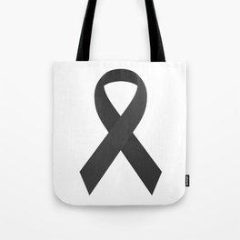 Black Awareness Support Ribbon Tote Bag