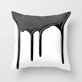 Black paint drip Throw Pillow