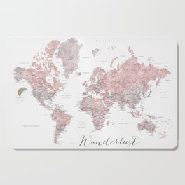Wanderlust - Dusty pink and grey watercolor world map, detailed Cutting Board
