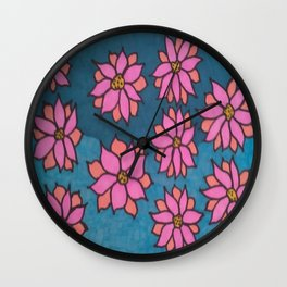 Pink and Blue Dahlia Print Wall Clock
