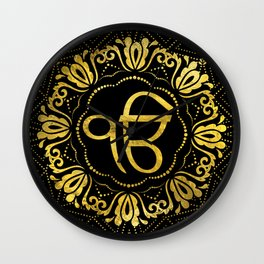 Decorative gold Ek Onkar / Ik Onkar  symbol Wall Clock