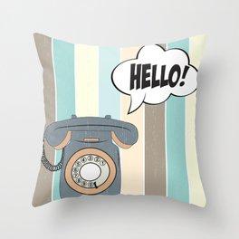 retro phone Throw Pillow
