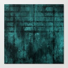 Turquoise Lined Rusted Metal Look Canvas Print