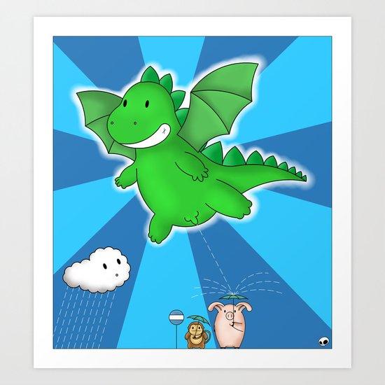 Godzilla rains first! Art Print