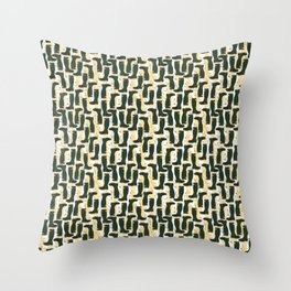 Hunter Green Wellington Welly Boots with Buttercup Flowers on Butter Yellow Streaky Stripes Throw Pillow