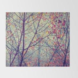 trees misty morning Throw Blanket