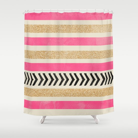 pink and gold shower curtain.  PINK AND GOLD STRIPES ARROWS Shower Curtain by allyjcat Society6