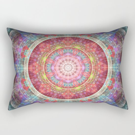 groovy colourful mandala filled with tribal patterns Rectangular Pillow