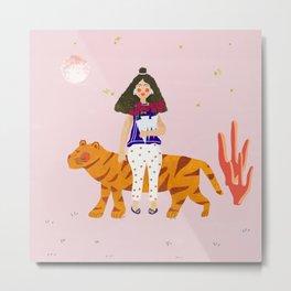 Woman with tiger  Metal Print