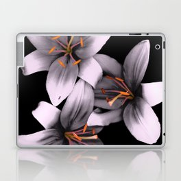 Black and White Ant Lilies Flower Scanography Laptop & iPad Skin
