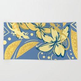Samoan Orchid Sunset Polynesian Floral Beach Towel
