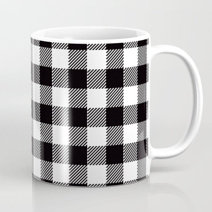 90s Buffalo Check Plaid In Black And White Coffee Mug By
