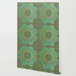 """Sea Turquoise Pattern Mandala Teal Gold"" Wallpaper"