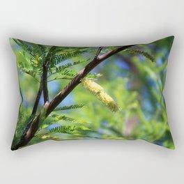 Closeup of Avocado Green Mesquite Tree Catkins Rectangular Pillow